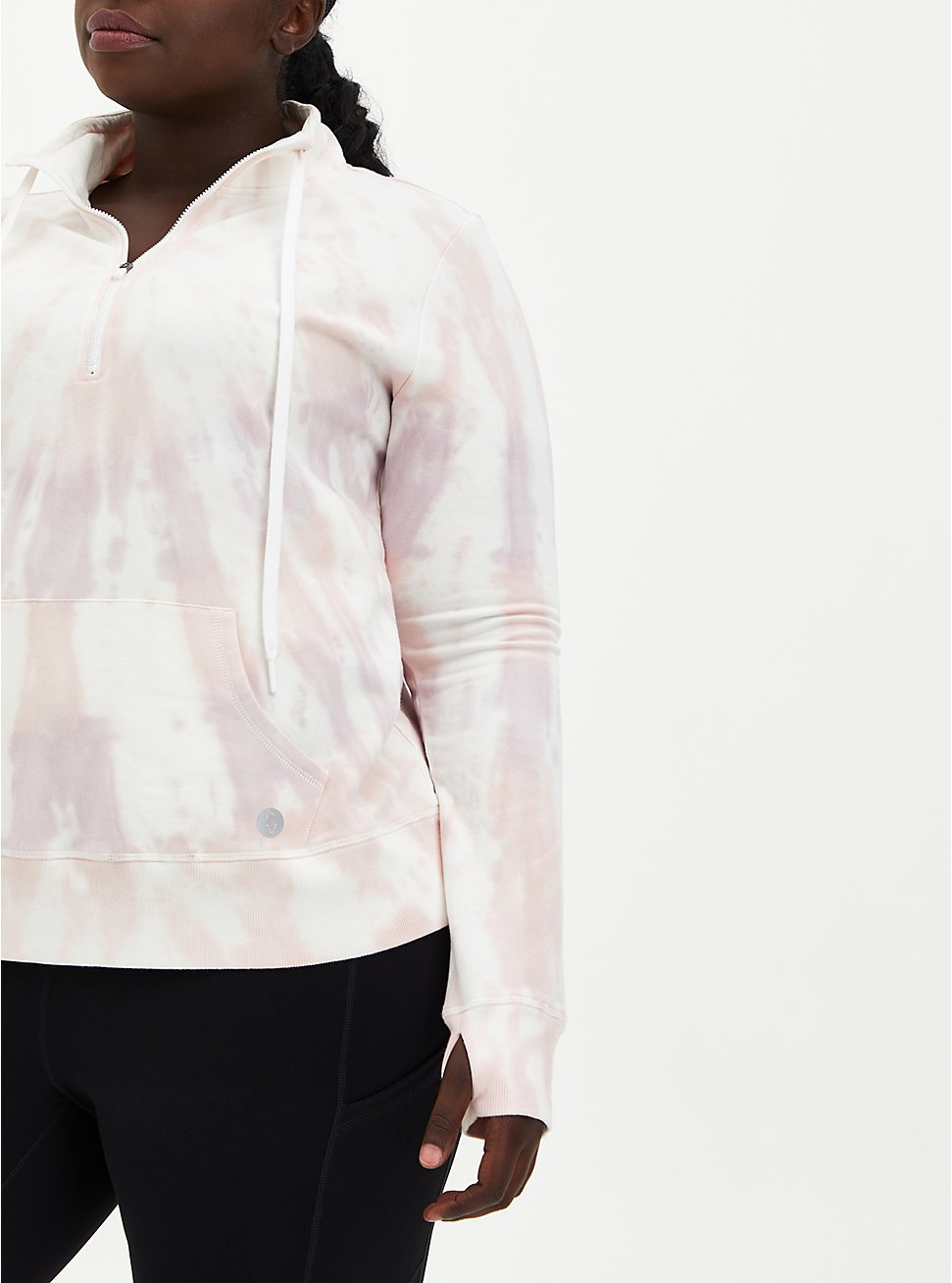 Plus Size Coral Tie-Dye Terry Active Half-Zip Pullover, TIE DYE, hi-res