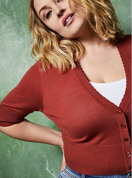 Plus Size Dusty Rose Pointelle Crop Cardigan Sweater, MARSALA, alternate