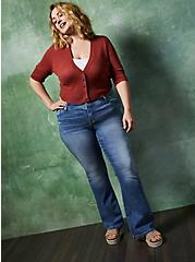 Dusty Rose Pointelle Crop Cardigan Sweater, MARSALA, alternate