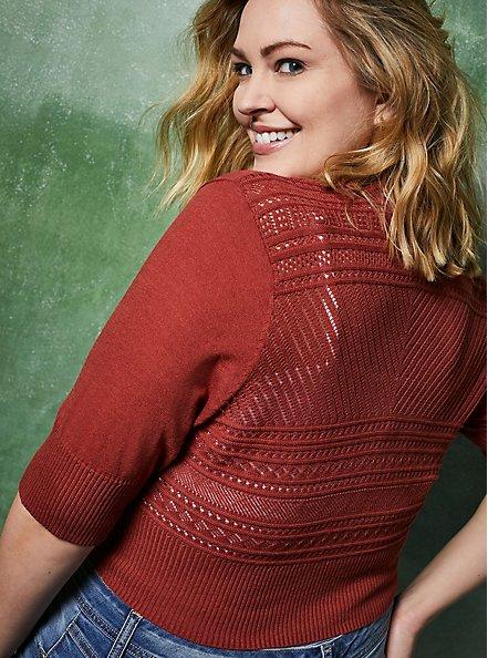 Plus Size Dusty Rose Pointelle Crop Cardigan Sweater, MARSALA, hi-res
