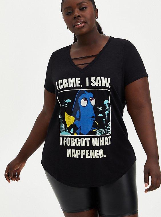 V-Neck Top - Disney Finding Nemo Dory Meme Black, , hi-res