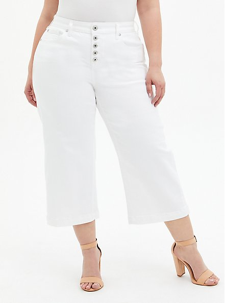 Crop High Rise Wide Leg Jean - Vintage Stretch White, OPTIC WHITE, hi-res