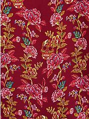 Harper - Red Wine Skull Floral Georgette Pullover Blouse, FLORAL - RED, alternate