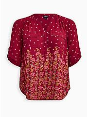 Harper - Red Wine Skull Floral Georgette Pullover Blouse, FLORAL - RED, hi-res