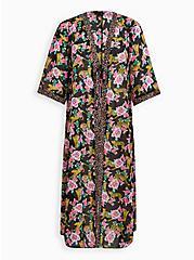 Plus Size Cheetah Floral Kimono Swim Coverup, MULTI, hi-res