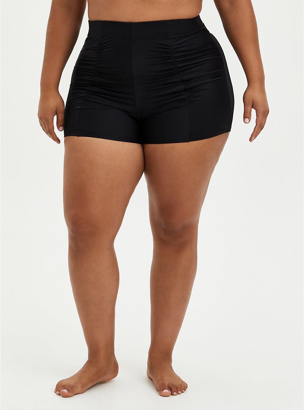 Ultra High Ruched Swim Short - Black, DEEP BLACK, hi-res