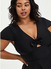 Black Flutter Sleeve Skater Swim Dress, DEEP BLACK, alternate