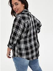 Black Plaid Twill Button Front Shirt, PLAID - BLACK, alternate