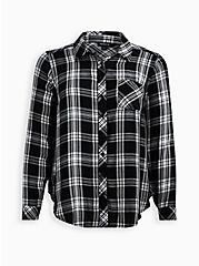 Black Plaid Twill Button Front Shirt, PLAID - BLACK, hi-res