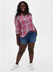 Multi Plaid Button Front Shirt, PLAID - MULTI, alternate