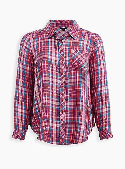 Multi Plaid Button Front Shirt, PLAID - MULTI, hi-res