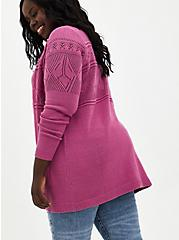 Violet Pink Cable Knit Cardigan Sweater, PINK  PURPLE, alternate