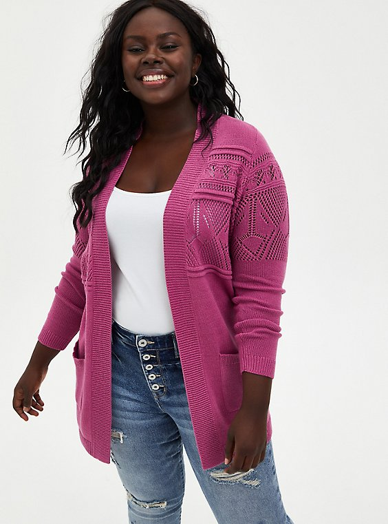 Violet Pink Cable Knit Cardigan Sweater, PINK  PURPLE, hi-res