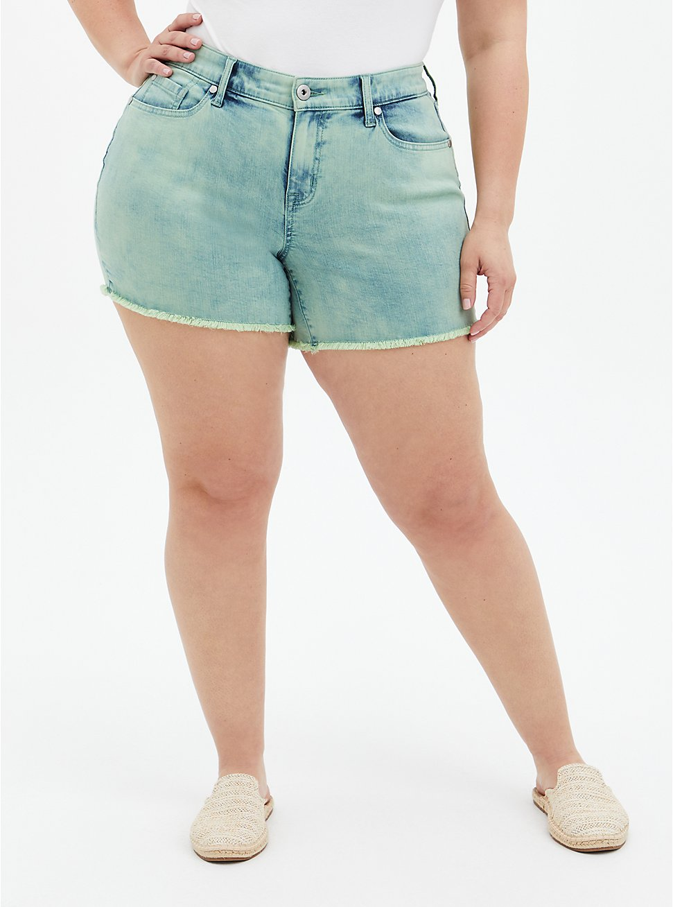 Mid Rise Midi Short - Vintage Stretch Acid Jade, , hi-res