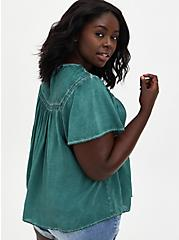 Teal Wash Challis Embroidered Blouse, GREEN, alternate