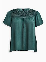 Teal Wash Challis Embroidered Blouse, GREEN, hi-res