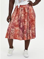 Plus Size Super Soft Tie-Dye Oatmeal Button Midi Skirt, DYE - MUSHROOM, hi-res