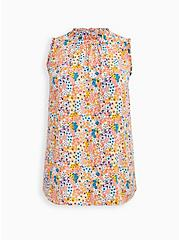 Ivory Floral Twill Ruffle Mock Neck Tank, FLORAL - PEACH, hi-res