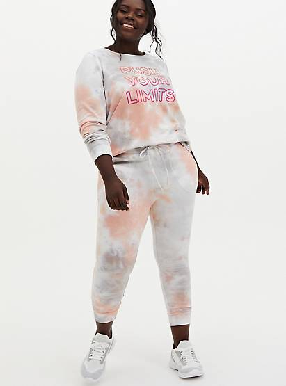 Classic Fit Crop Active Jogger - Terry Tie-Dye Coral, TIE DYE, alternate