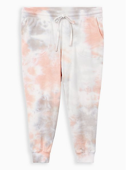 Classic Fit Crop Active Jogger - Terry Tie-Dye Coral, TIE DYE, hi-res