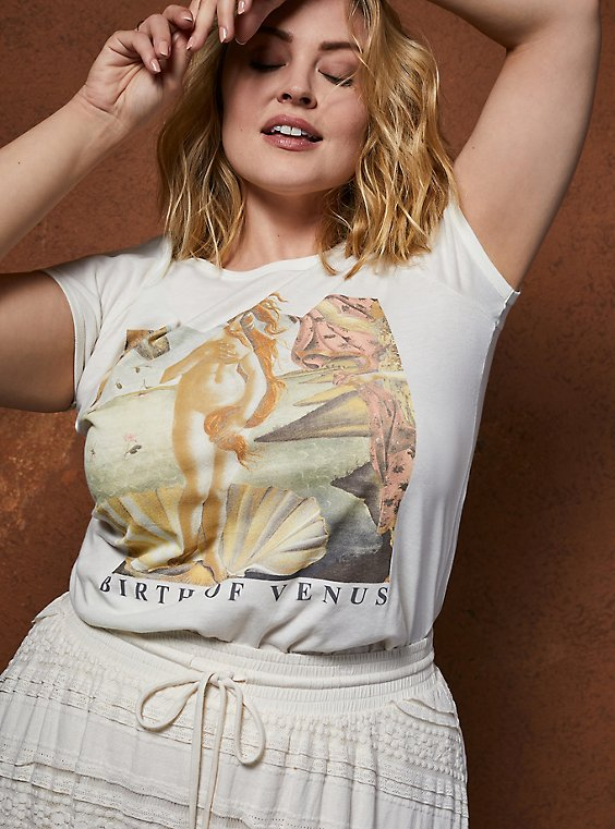 Classic Fit Ringer Tee - Birth Of Venus White, , hi-res