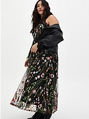 Black Floral Embroidered Mesh Maxi Dress, FLORAL - BLACK, alternate