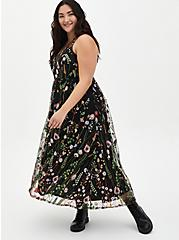 Black Floral Embroidered Mesh Maxi Dress, FLORAL - BLACK, hi-res
