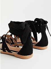Black Faux Suede Ankle Wrap Sandal (WW), BLACK, alternate