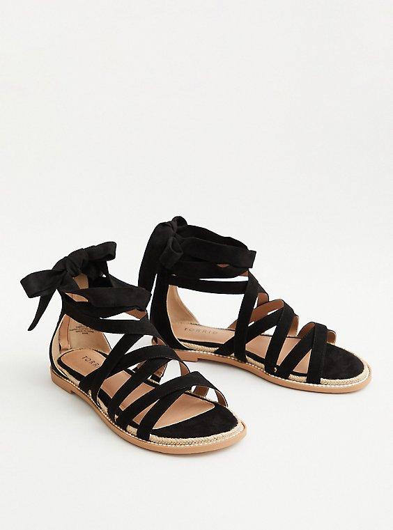 Black Faux Suede Ankle Wrap Sandal (WW), BLACK, hi-res