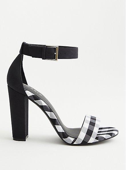 Black & White Gingham Tapered Heel (WW), BLACK-WHITE, alternate