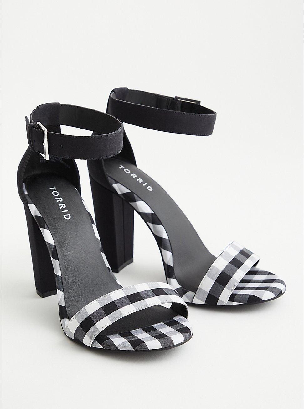 Black & White Gingham Tapered Heel (WW), BLACK-WHITE, hi-res