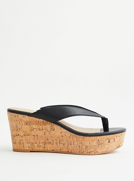 Plus Size Black Thong Platform Cork Wedge (WW), BLACK, hi-res
