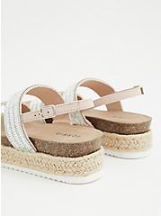 Beige Rhinestone Double Strap Flatform Sandal (WW), TAN/BEIGE, alternate