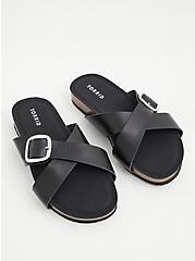 Plus Size  Black Faux Leather Criss Cross Buckle Slide Sandal (WW), BLACK, alternate