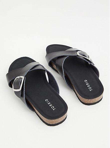 Black Faux Leather Criss Cross Buckle Slide Sandal (WW), BLACK, alternate