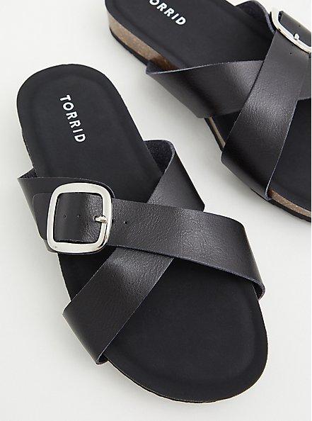 Black Faux Leather Criss Cross Buckle Slide Sandal (WW), BLACK, hi-res