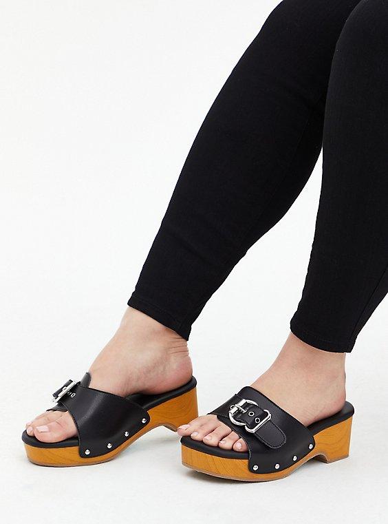 Black Faux Leather Buckle Wood Block Heel (WW), BLACK, hi-res