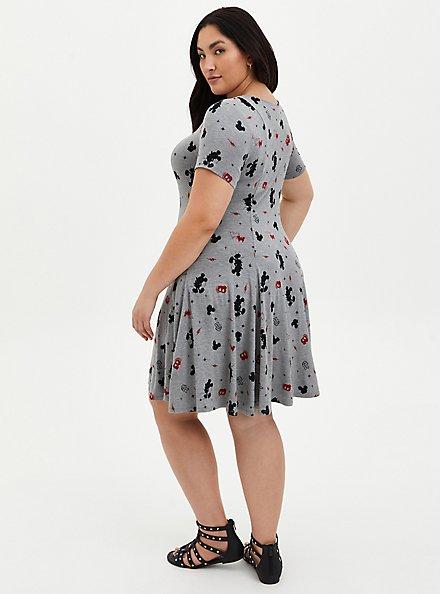 Skater Dress - Disney Mickey Mouse Super Soft Grey, HEATHER GRAY  BLACK, alternate