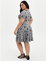 Plus Size Skater Dress - Disney Mickey Mouse Super Soft Grey, HEATHER GRAY  BLACK, alternate