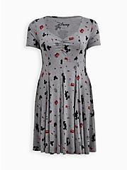 Plus Size Skater Dress - Disney Mickey Mouse Super Soft Grey, HEATHER GRAY  BLACK, hi-res