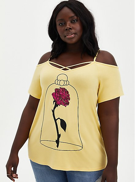 Disney Beauty & The Beast Yellow Cold Shoulder Strappy Top , SUNDRESS, hi-res
