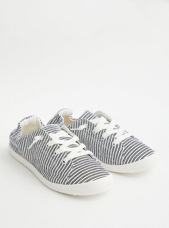 Riley - Black & White Stripe Canvas Sneaker, , hi-res