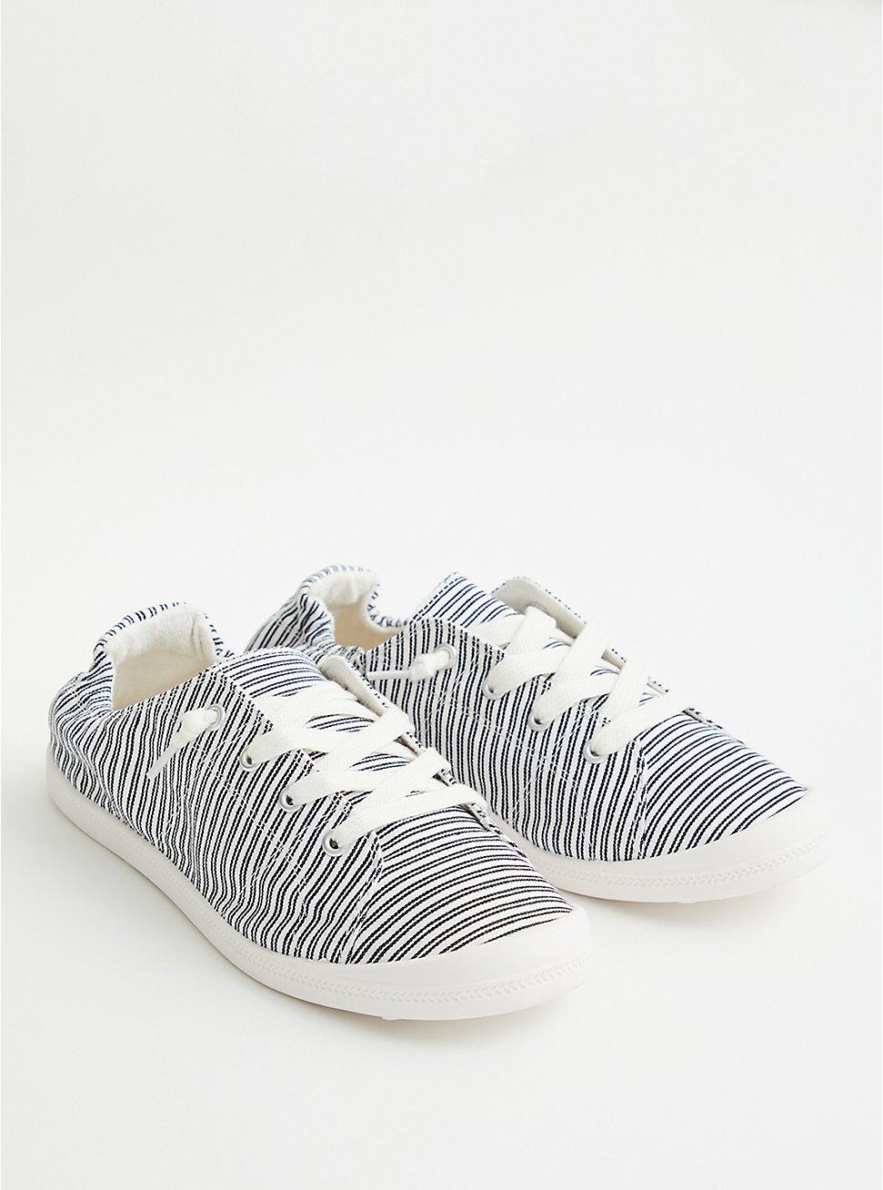 Riley - Black & White Stripe Canvas Sneaker, BLACK-WHITE, hi-res