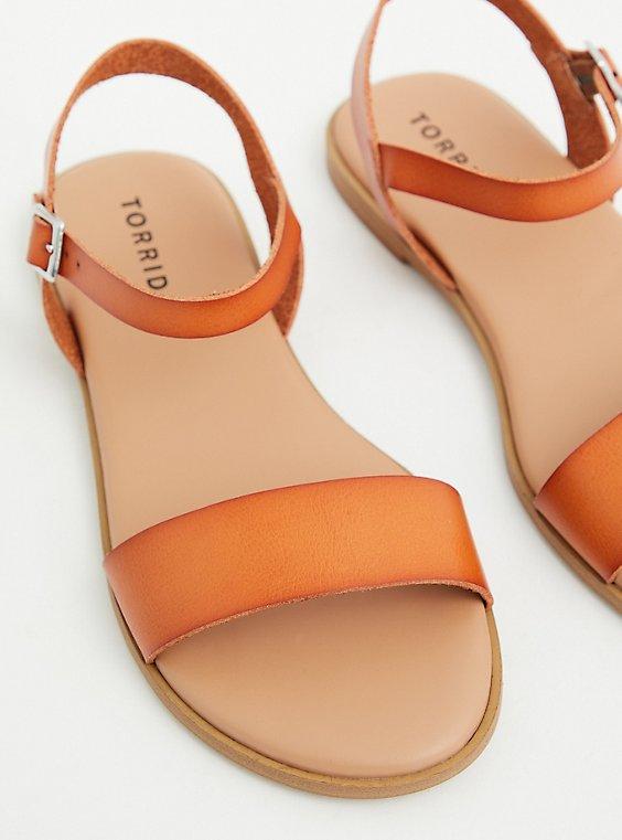 Cognac Faux Leather Double Band Gladiator Sandal (WW), , hi-res