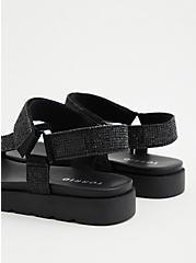 Black Rhinestone Velcro Tech Sandal (WW), BLACK, alternate