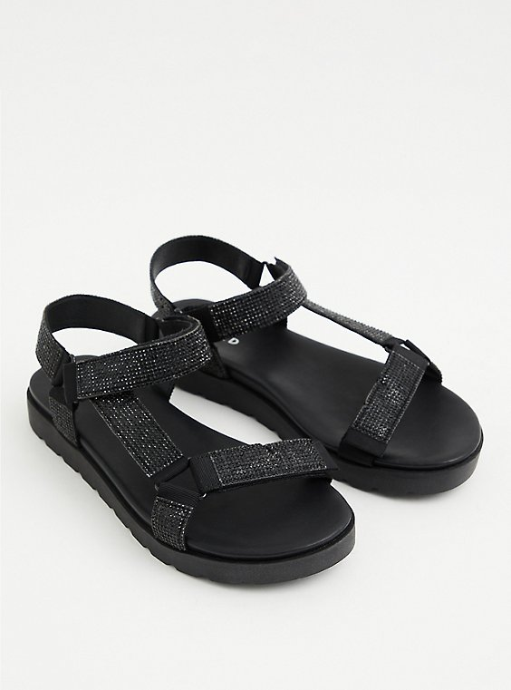 Black Rhinestone Velcro Tech Sandal (WW), BLACK, hi-res