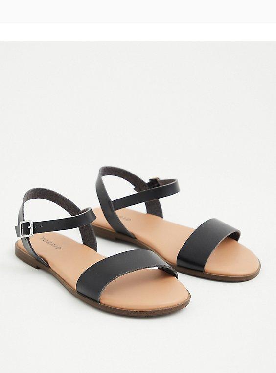 Black Faux Leather Double Band Gladiator Sandal (WW), BLACK, hi-res