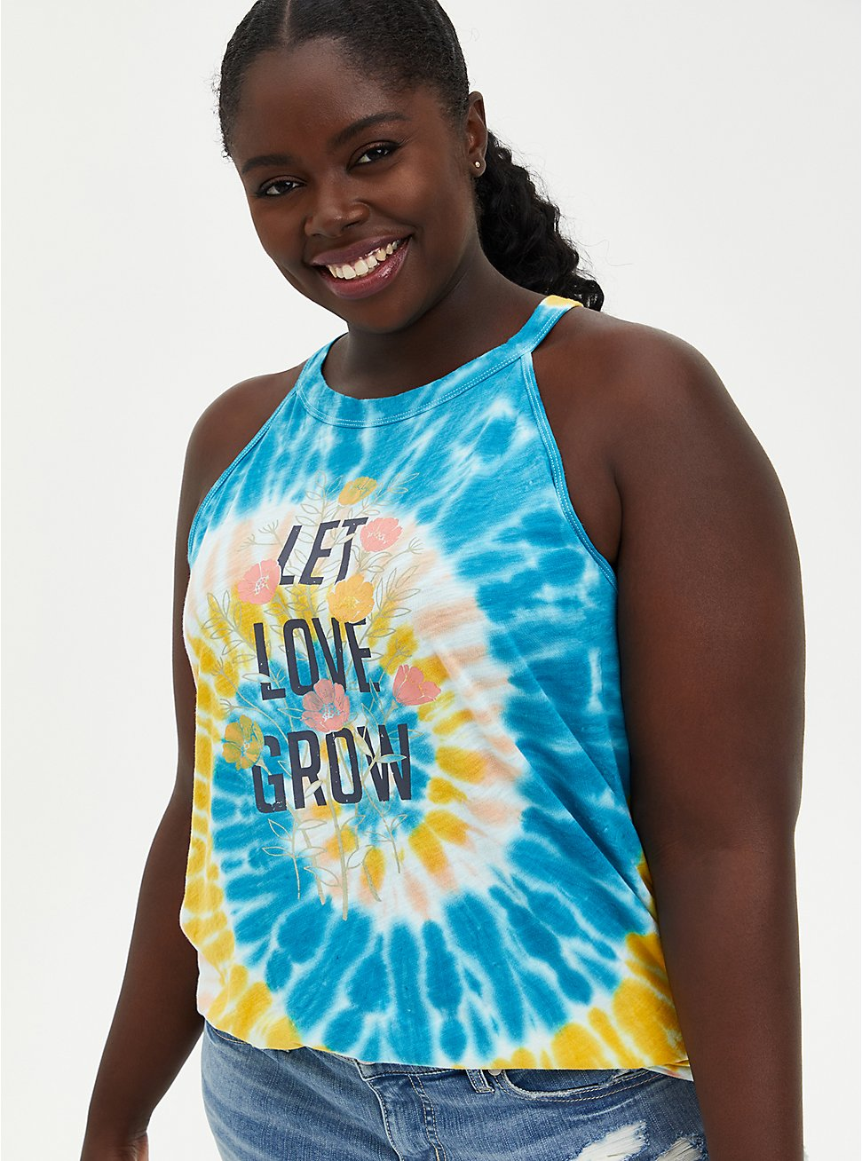 Love Grow Yellow Wash High Neck Tank, OLD GOLD, hi-res