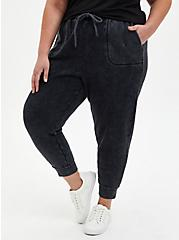 Relaxed Fit Crop Active Jogger - Terry Washed Black, BLACK, hi-res