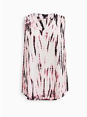 Ivory Tie-Dye Crepe Chain Front Tank , , hi-res